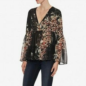 Intermix 100% Silk Floral Bell Sleeves Blouse